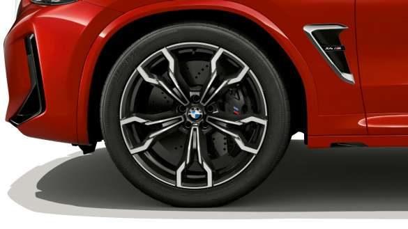 BMW X4 M F98 LCI Facelift 2021 Toronto Rot metallic 20'' M Leichtmetallräder Doppelspeiche 764 M Nahaufnahme